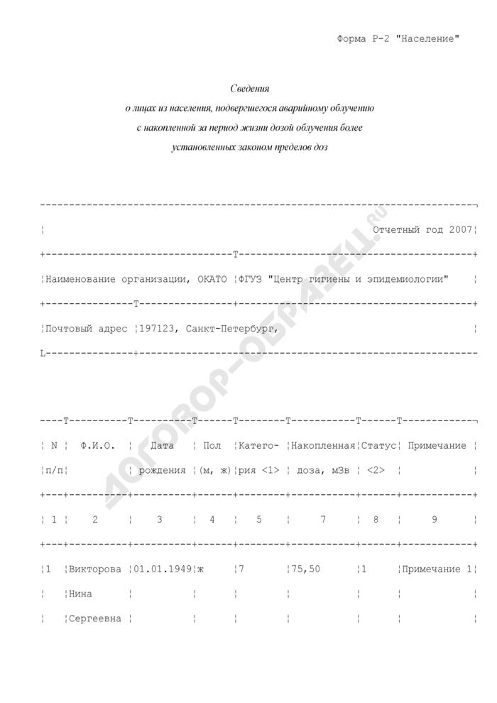 """Сведения о лицах из населения, подвергшегося аварийному облучению с накопленной за период жизни дозой облучения более установленных законом пределов доз (пример заполнения). Форма N Р-2 """"Население. Страница 1"""