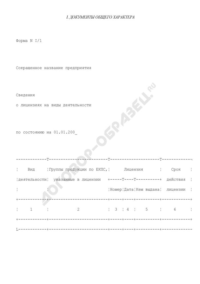 Сведения о лицензиях на виды деятельности предприятия, находящегося в сфере ведения и координации Роспрома. Форма N I/1. Страница 1