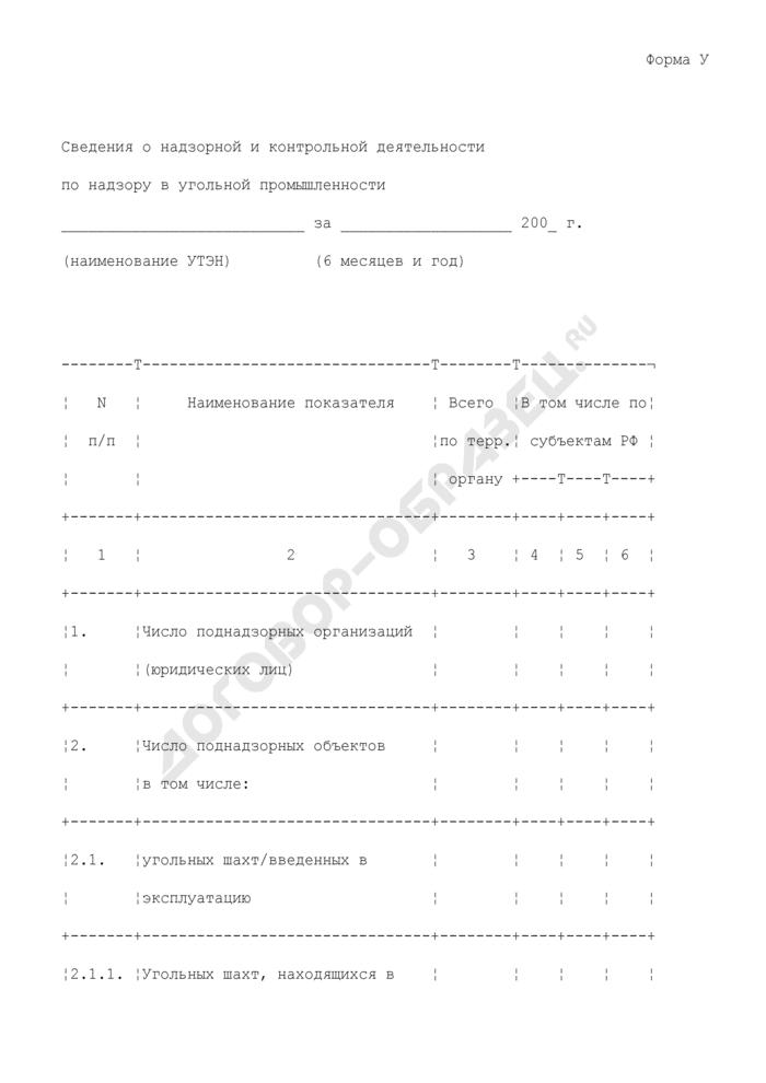 Сведения о надзорной и контрольной деятельности управления по технологическому и экологическому надзору Ростехнадзора по надзору в угольной промышленности. Форма N У. Страница 1