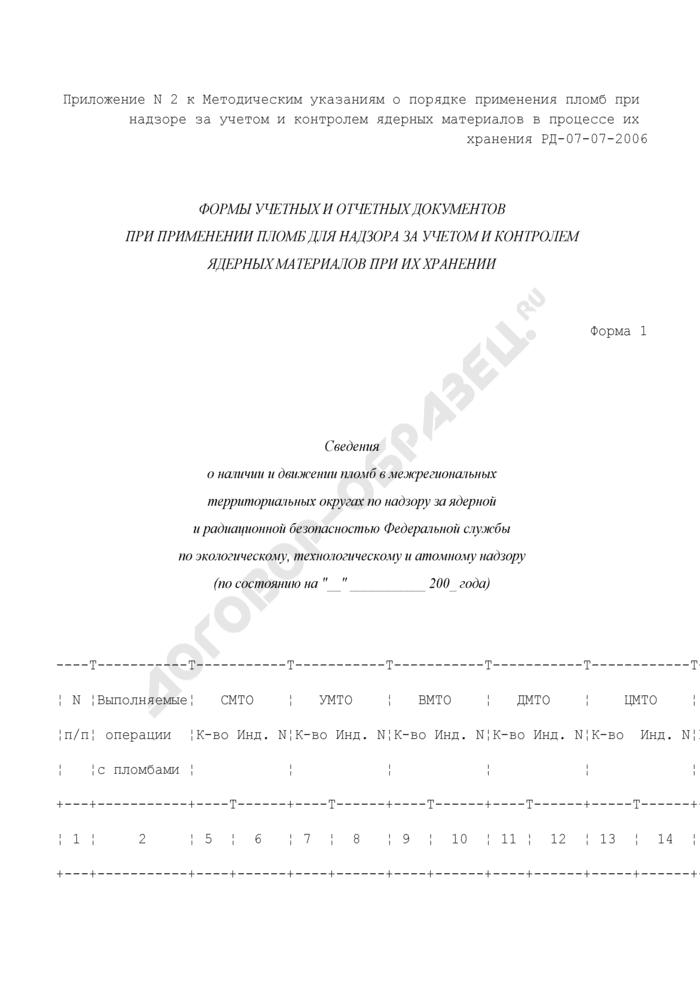 Сведения о наличии и движении пломб в межрегиональных территориальных округах по надзору за ядерной и радиационной безопасностью Федеральной службы по экологическому, технологическому и атомному надзору. Форма N 1. Страница 1