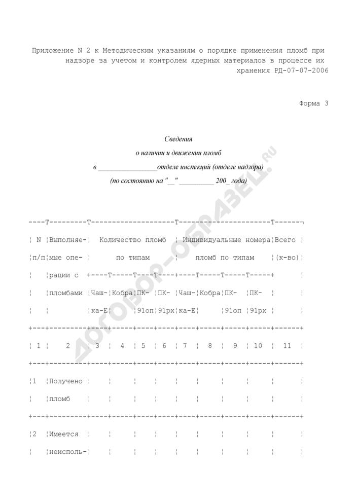 Сведения о наличии и движении пломб в отделе инспекций (отделе надзора). Форма N 3. Страница 1