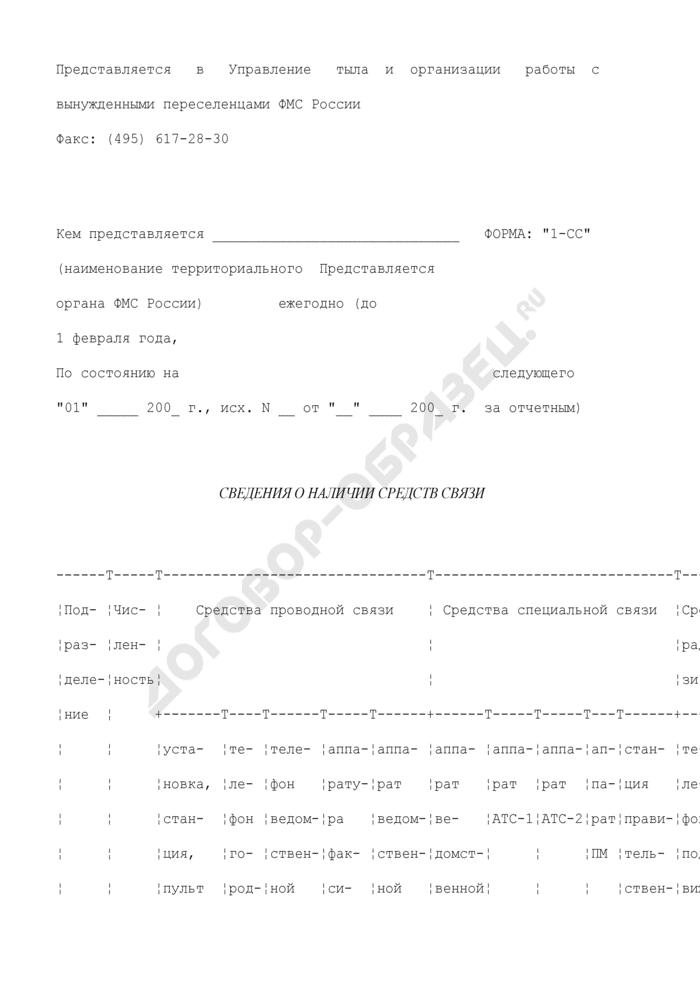 Сведения о наличии средств связи. Форма N 1-СС. Страница 1
