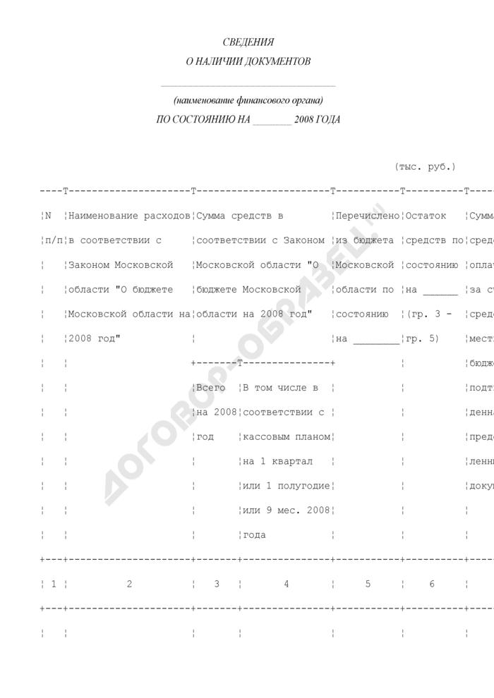 Сведения о наличии документов финансового органа для получения субсидий из бюджета Московской области. Страница 1