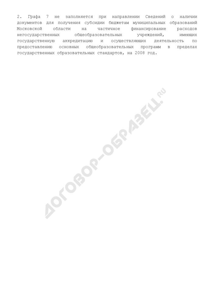 Сведения о наличии документов финансового органа для получения субсидий из бюджета Московской области. Страница 3
