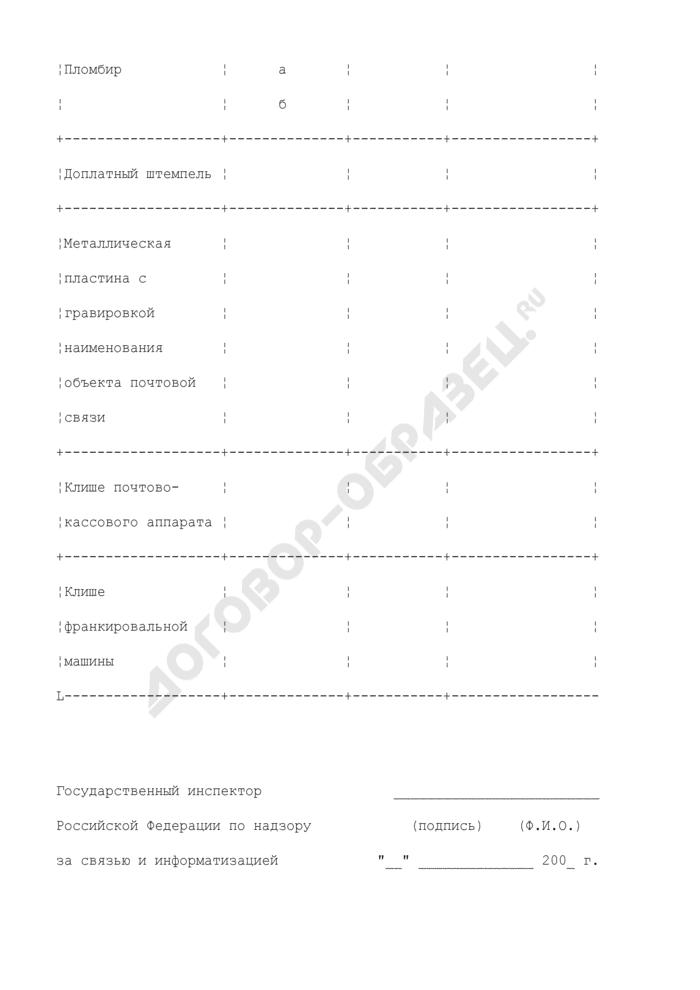 Таблица учета именных вещей в объекте почтовой связи. Страница 2