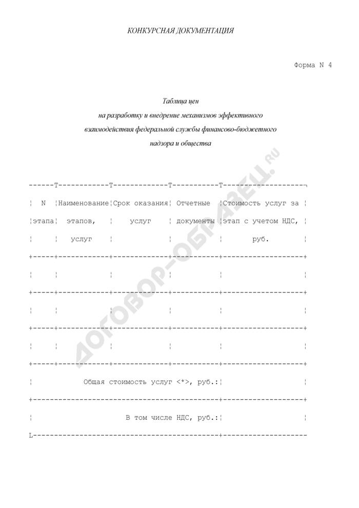 Таблица цен на разработку и внедрение механизмов эффективного взаимодействия Федеральной службы финансово-бюджетного надзора и общества. Форма N 4. Страница 1
