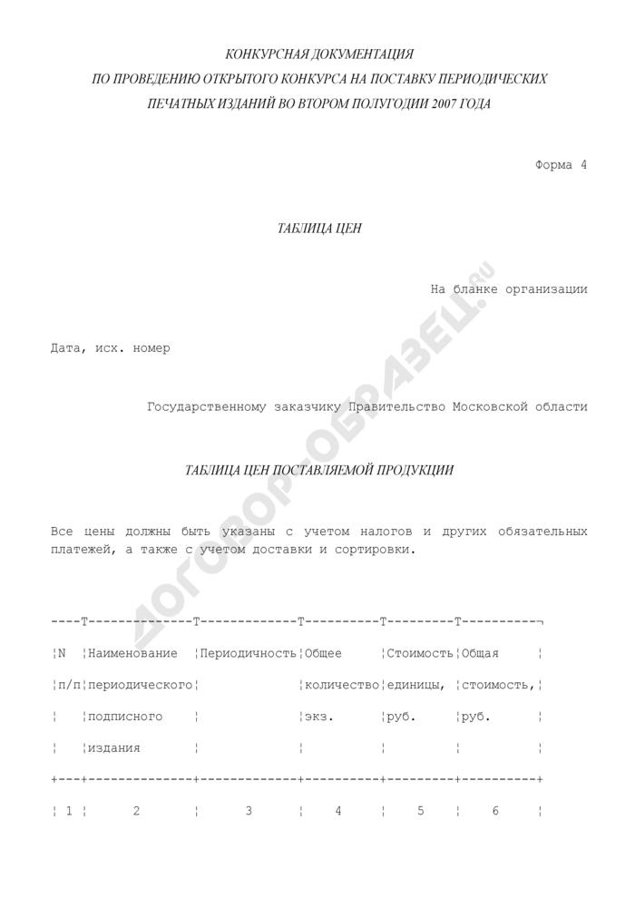 Таблица цен поставляемой продукции (периодических печатных изданий) государственному заказчику - Правительству Московской области. Форма N 4. Страница 1