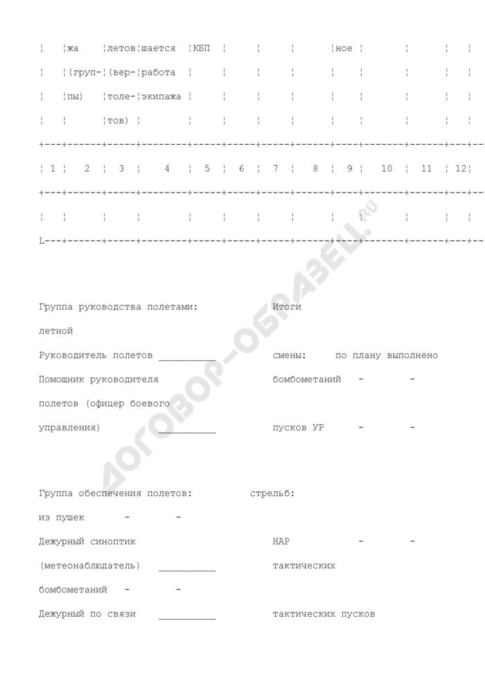Плановая таблица бомбометаний, воздушных стрельб (пусков ракет) на авиационном полигоне. Форма N 8. Страница 2