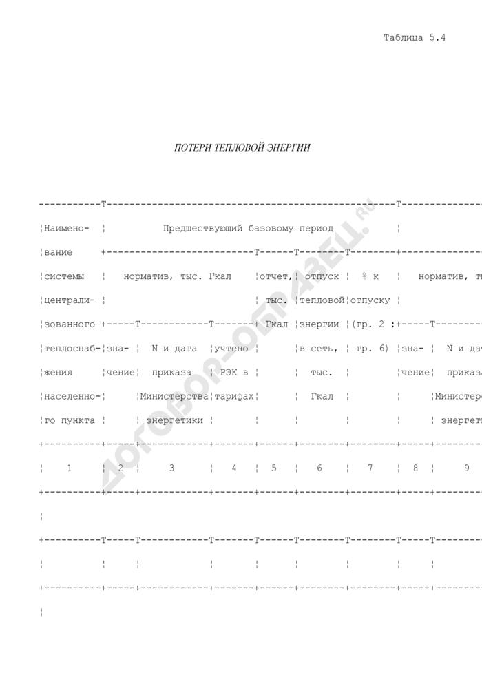 Таблицы для расчета и обоснования нормативов технологических потерь при передаче тепловой энергии. Потери тепловой энергии. Страница 1