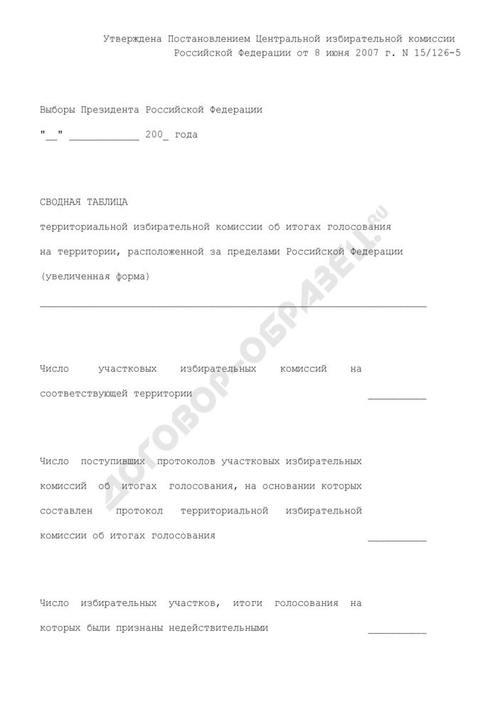 Увеличенная форма сводной таблицы территориальной избирательной комиссии об итогах голосования при проведении выборов Президента Российской Федерации на территории, расположенной за пределами Российской Федерации (обязательная). Страница 1