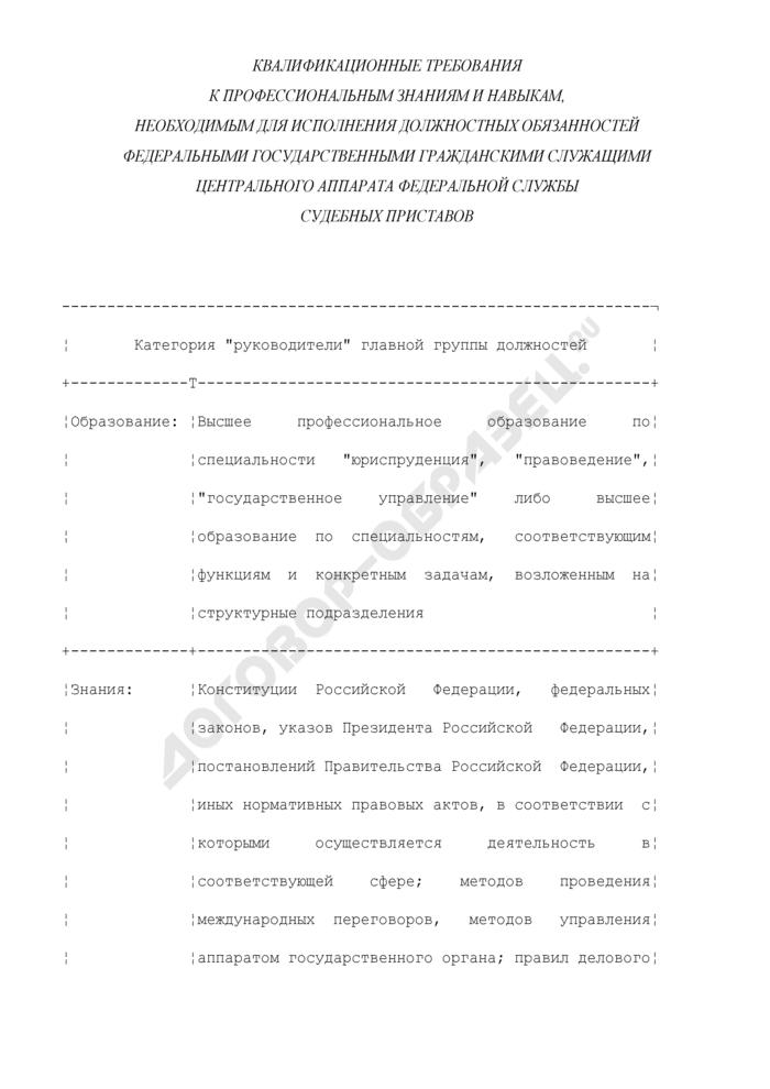 Квалификационные требования к профессиональным знаниям и навыкам, необходимым для исполнения должностных обязанностей федеральными государственными гражданскими служащими центрального аппарата Федеральной службы судебных приставов. Страница 1