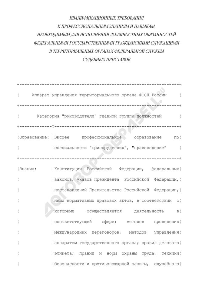Квалификационные требования к профессиональным знаниям и навыкам, необходимым для исполнения должностных обязанностей федеральными государственными гражданскими служащими в территориальных органах Федеральной службы судебных приставов. Страница 1