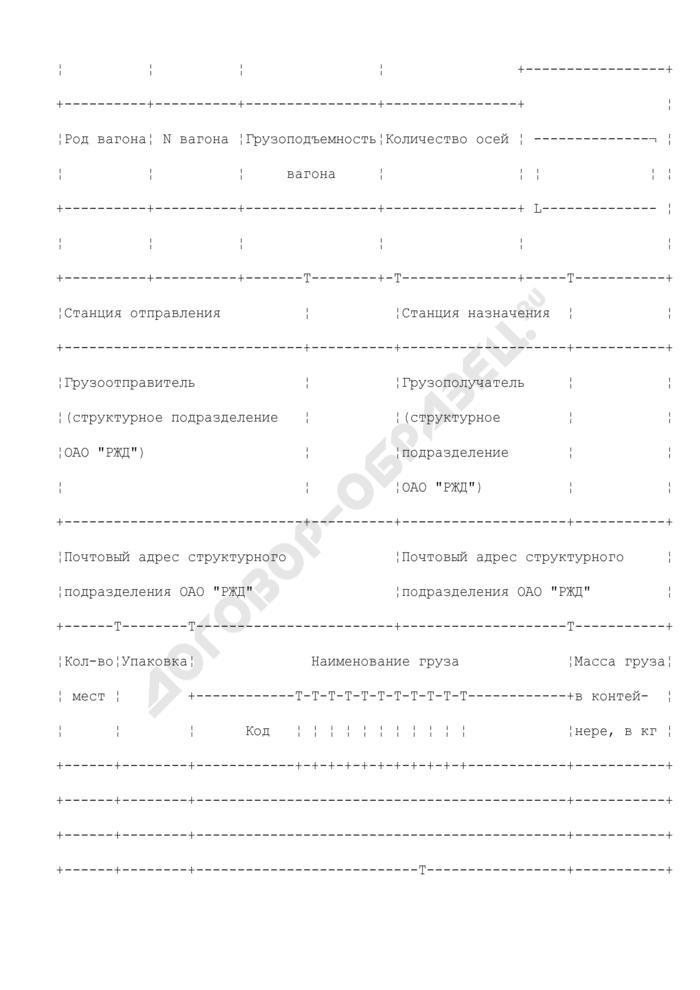 """Требование-накладная на транспортировку грузов в универсальном контейнере между структурными подразделениями ОАО """"РЖД"""". Лист 1. Форма N ГУ-32к. Страница 2"""
