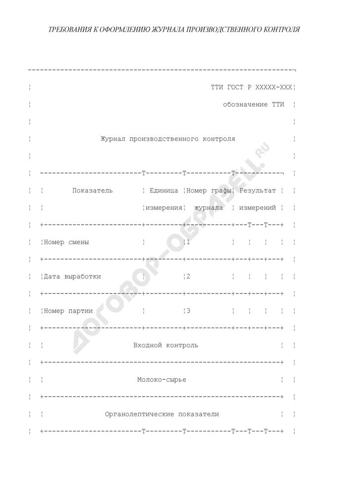 Требования к оформлению журнала производственного контроля. Страница 1