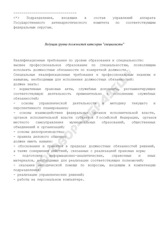 """Квалификационные требования в органах наркоконтроля. Подразделения координации и взаимодействия в сфере противодействия незаконному обороту наркотиков в субъектах Российской Федерации соответствующего федерального округа. Ведущая группа должностей категории """"специалисты. Страница 1"""
