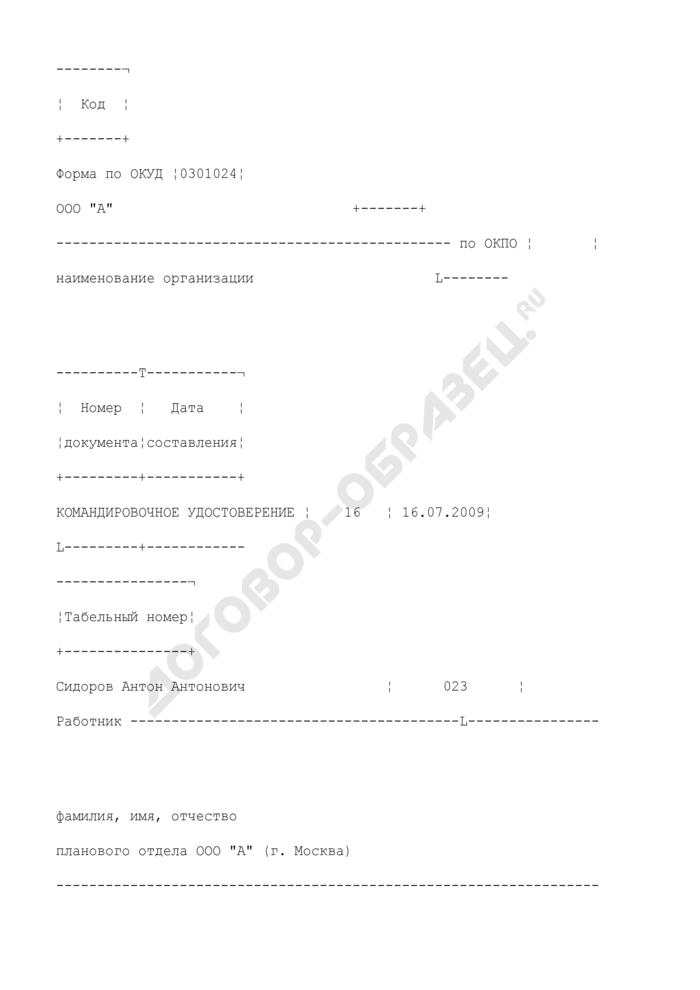 Командировочное удостоверение. Унифицированная форма N Т-10 (пример заполнения). Страница 1