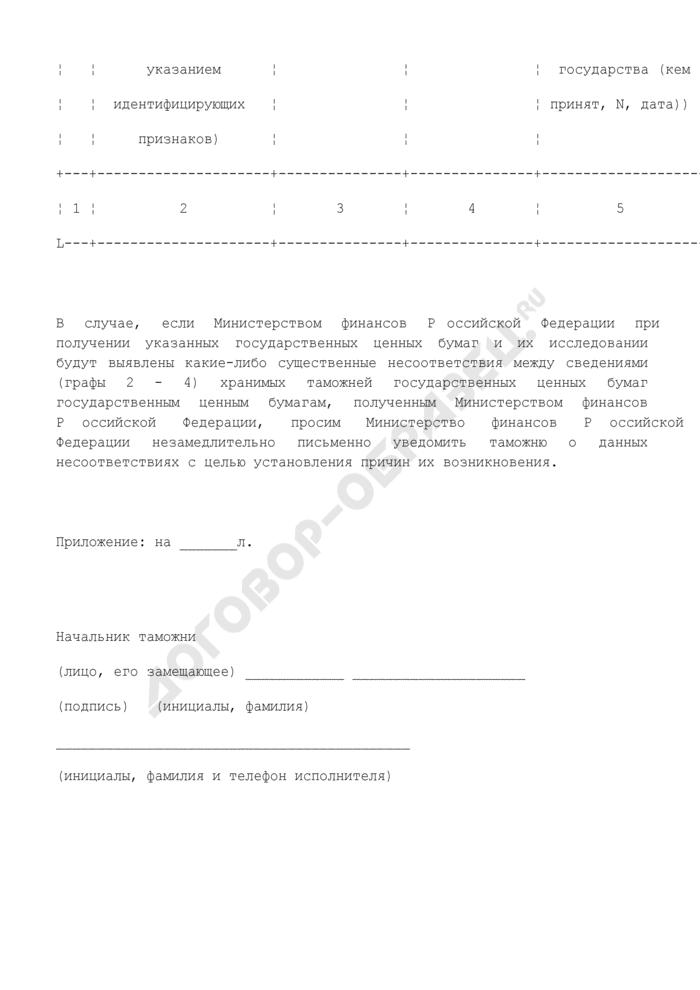 Типовая форма уведомления таможенным органом Министерства финансов Российской Федерации о наличии на учете и хранении в таможне государственных ценных бумаг, обращенных в федеральную собственность и подлежащих передаче Министерству финансов Российской Федерации. Страница 2