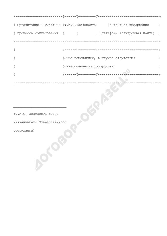 Уведомление о назначении ответственного сотрудника за подготовку и согласование проекта контракта. Страница 1