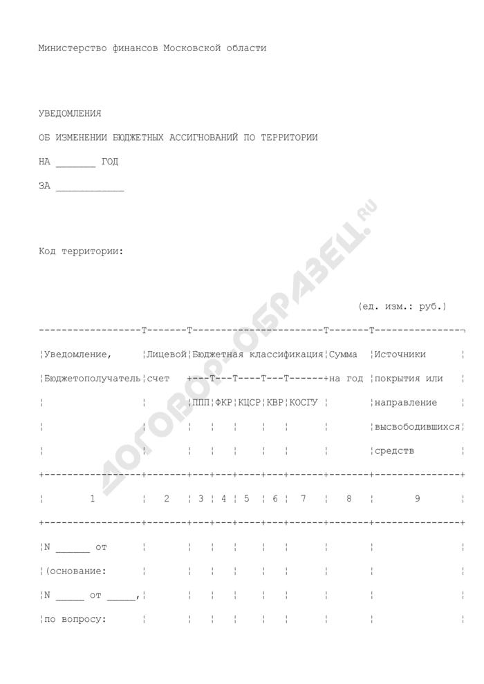 Уведомление об изменении бюджетных ассигнований по территории в разрезе лицевых счетов получателей по учету бюджетных средств и лицевых счетов получателей по учету внебюджетных средств, обслуживаемых на территории Московской области. Страница 1