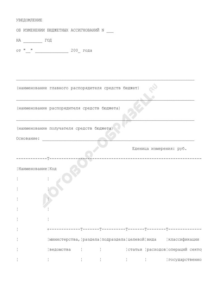 Уведомление об изменении бюджетных ассигнований Пушкинского муниципального района Московской области. Страница 1
