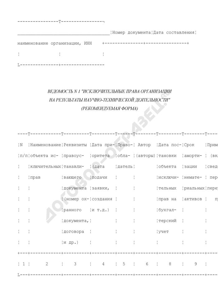 """Ведомость N 1 """"Исключительные права организации на результаты научно-технической деятельности"""" (рекомендуемая форма). Страница 1"""