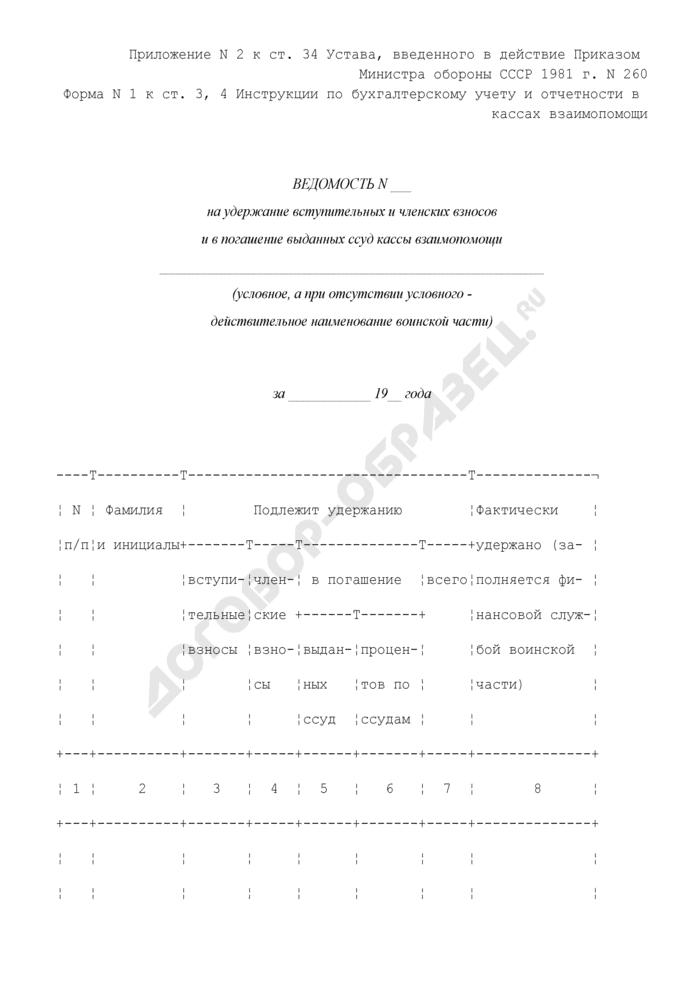 Ведомость на удержание вступительных и членских взносов и в погашение выданных ссуд кассы взаимопомощи при воинской части. Форма N 1. Страница 1