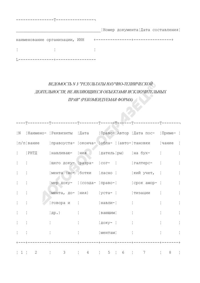 """Ведомость N 3 """"Результаты научно-технической деятельности, не являющиеся объектами исключительных прав"""" (рекомендуемая форма). Страница 1"""