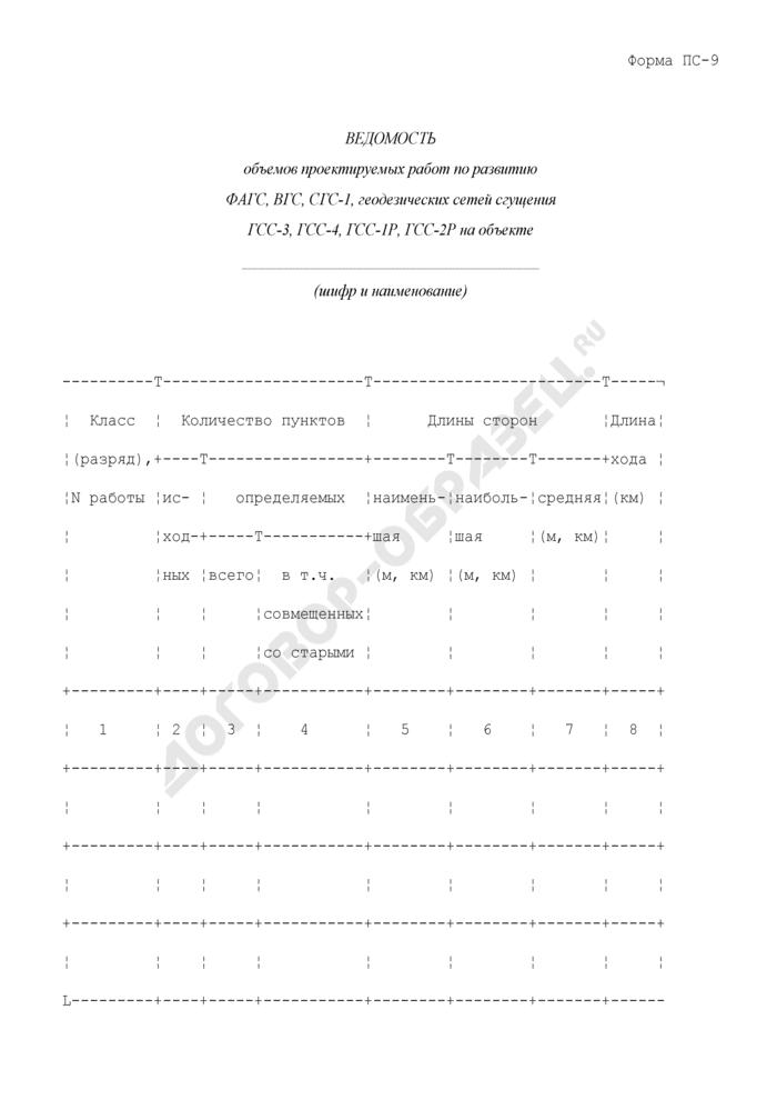 Ведомость объемов проектируемых работ по развитию ФАГС, ВГС, СГС-1, геодезических сетей сгущения ГСС-3, ГСС-4, ГСС-1Р, ГСС-2Р на объекте. Форма N ПС-9. Страница 1