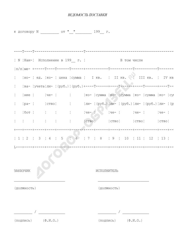 Ведомость поставки (приложение к договору на поставку продукции для федеральных государственных нужд). Страница 1