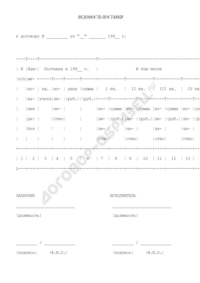 Ведомость поставки (приложение к договору по выполнению работ для государственных нужд). Страница 1