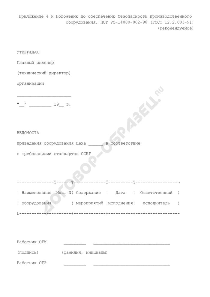 Ведомость приведения оборудования цеха в соответствие с требованиями стандартов ССБТ (рекомендуемая форма). Страница 1