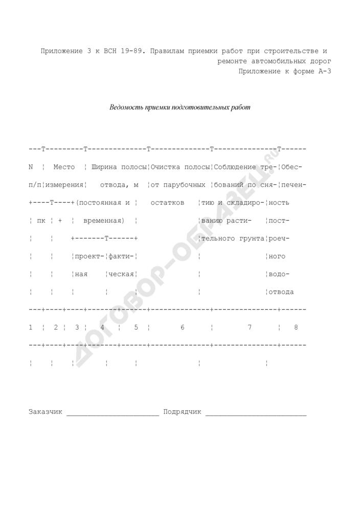 Ведомость приемки подготовительных работ (приложение к форме N А-3). Страница 1