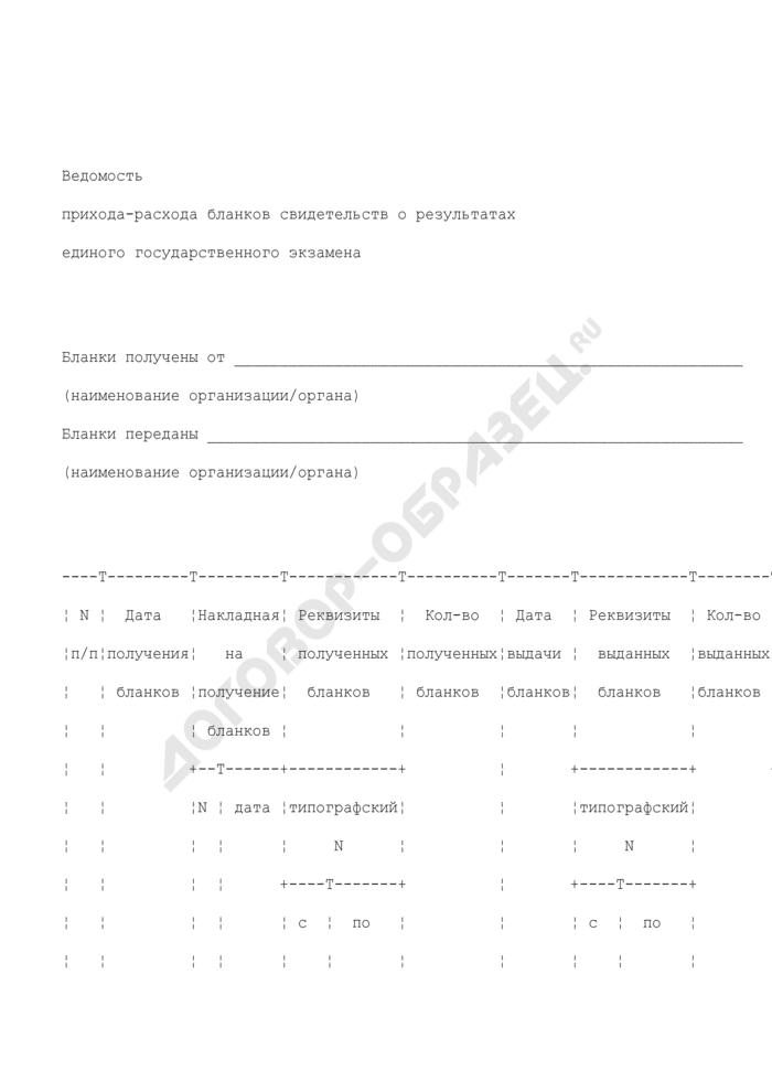 Ведомость прихода-расхода бланков свидетельств о результатах единого государственного экзамена. Страница 1