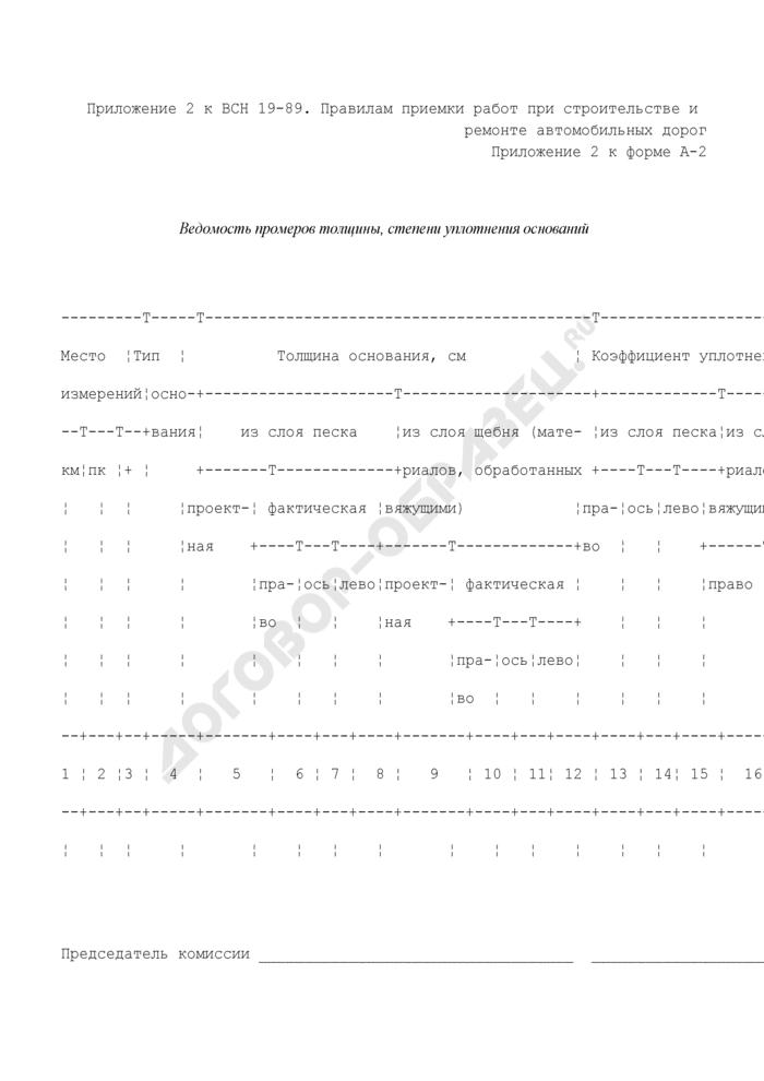 Ведомость промеров толщины, степени уплотнения оснований (приложение к форме N А-2). Страница 1