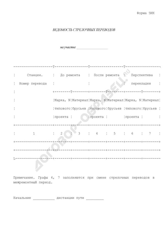 Ведомость стрелочных переводов на участке железной дороги. Форма N ЗИК. Страница 1