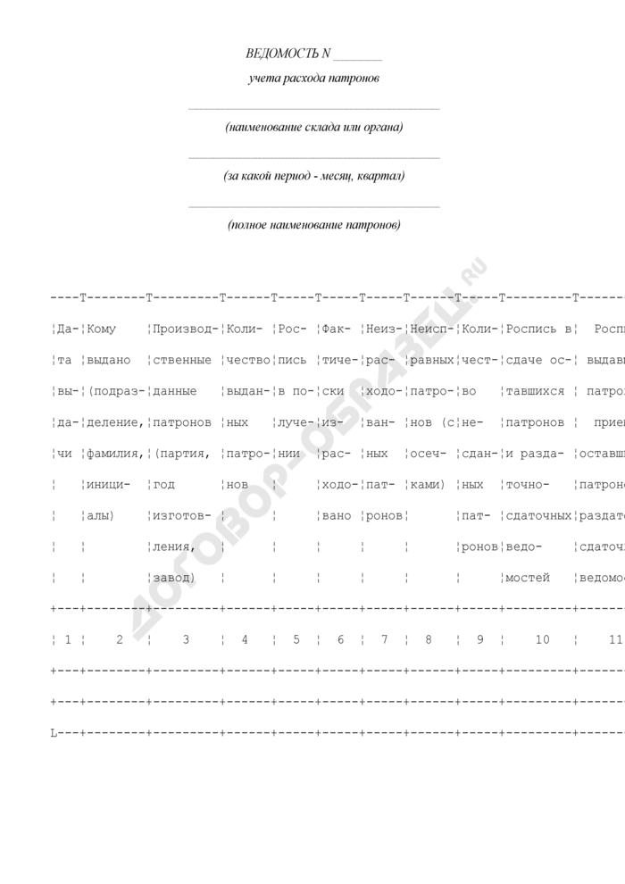 Ведомость учета расхода патронов. Форма N 4. Страница 1