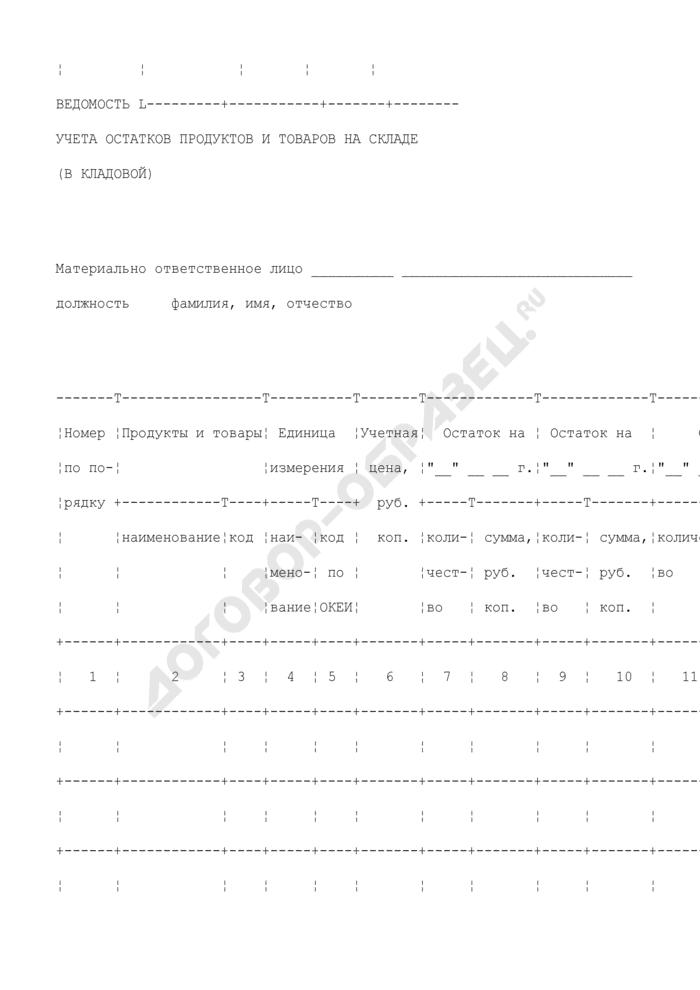 Ведомость учета остатков продуктов и товаров на складе (в кладовой). Унифицированная форма N ОП-16. Страница 2