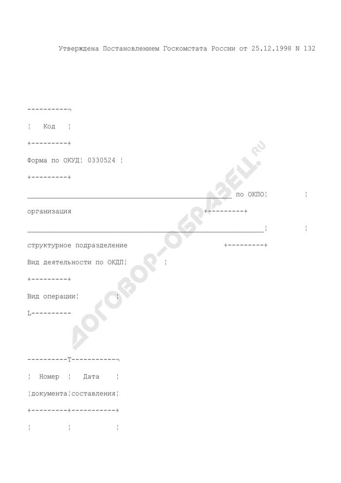 Ведомость учета движения готовых изделий в кондитерском и других цехах. Унифицированная форма N ОП-24. Страница 1