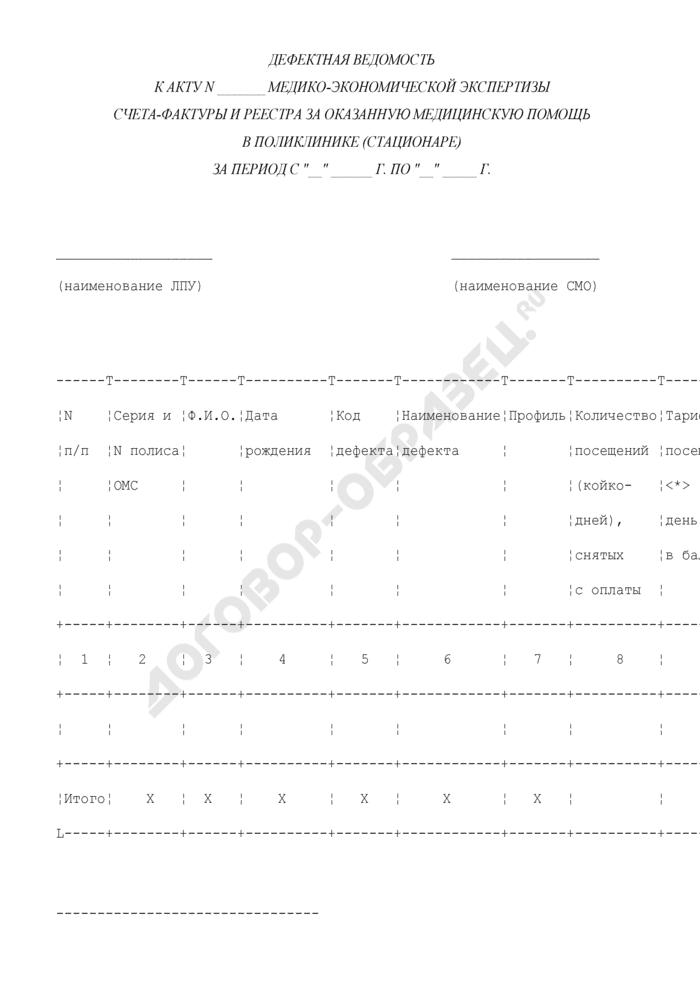 Дефектная ведомость (приложение к акту медико-экономической экспертизы счета-фактуры и реестра за оказанную медицинскую помощь в поликлинике (стационаре) в соответствии с условиями договоров на предоставление лечебно-профилактической помощи (медицинских услуг) по обязательному медицинскому страхованию). Страница 1