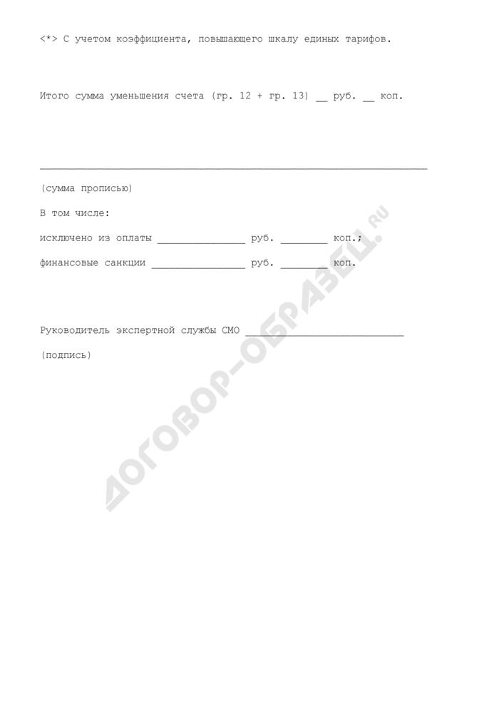 Дефектная ведомость (приложение к акту медико-экономической экспертизы счета-фактуры и реестра за оказанную медицинскую помощь в поликлинике (стационаре) в соответствии с условиями договоров на предоставление лечебно-профилактической помощи (медицинских услуг) по обязательному медицинскому страхованию). Страница 2