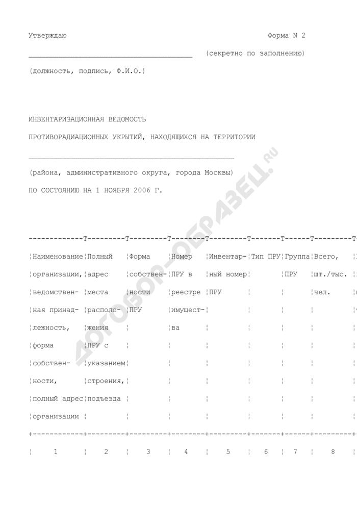 Инвентаризационная ведомость противорадиационных укрытий, находящихся на территории. Форма N 2. Страница 1