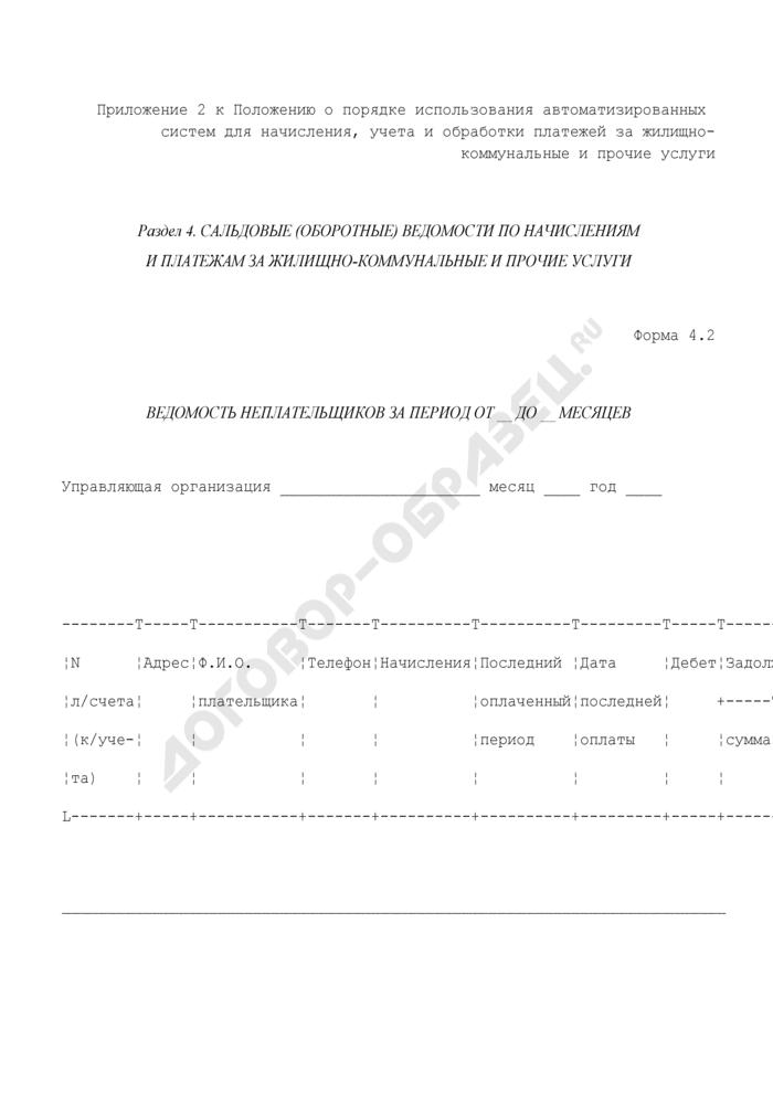 Сальдовые (оборотные) ведомости по начислениям и платежам за жилищно-коммунальные и прочие услуги. Ведомость неплательщиков. Форма N 4.2. Страница 1