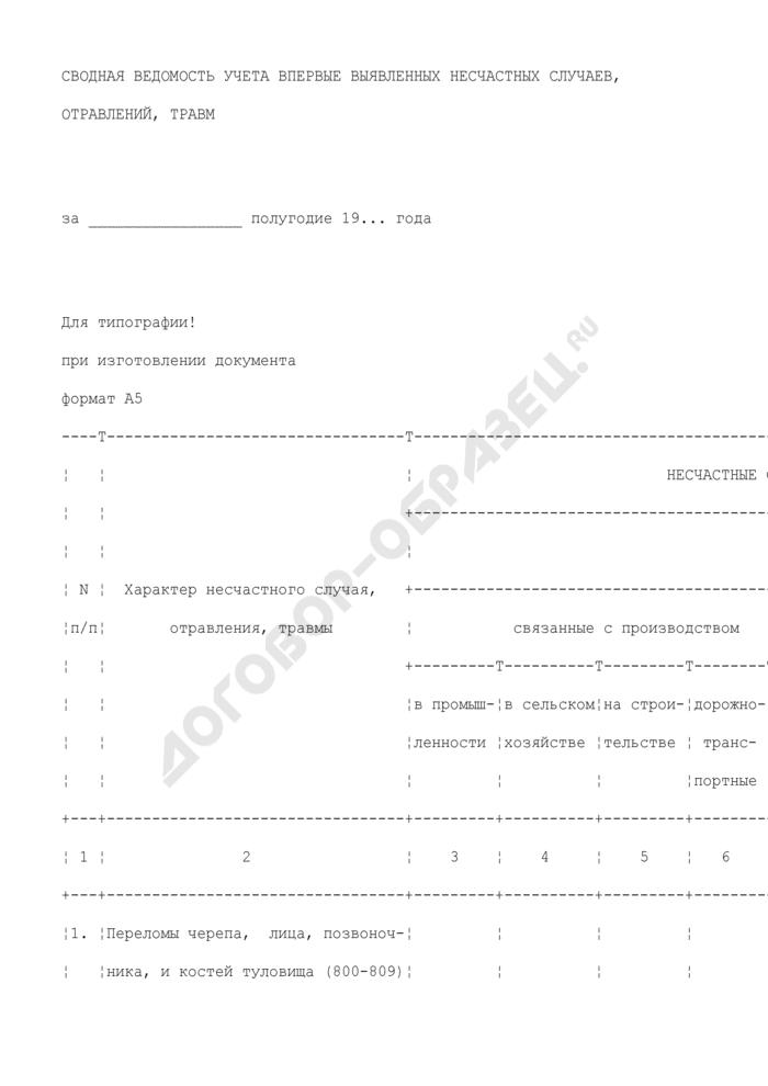 Сводная ведомость учета впервые выявленных несчастных случаев, отравлений, травм. Форма N 071-1/у. Страница 1