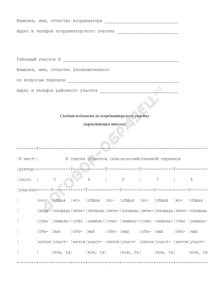 Сводная ведомость по координаторскому участку . Форма N 13. Страница 2