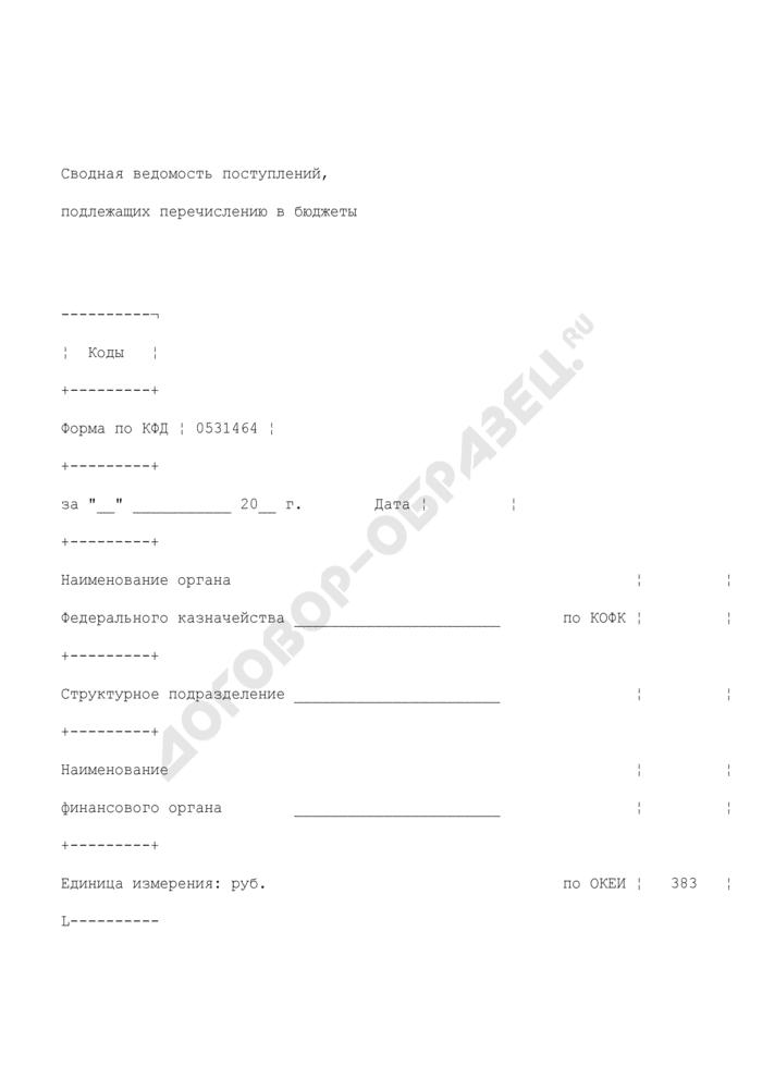 Сводная ведомость поступлений, подлежащих перечислению в бюджеты. Страница 1