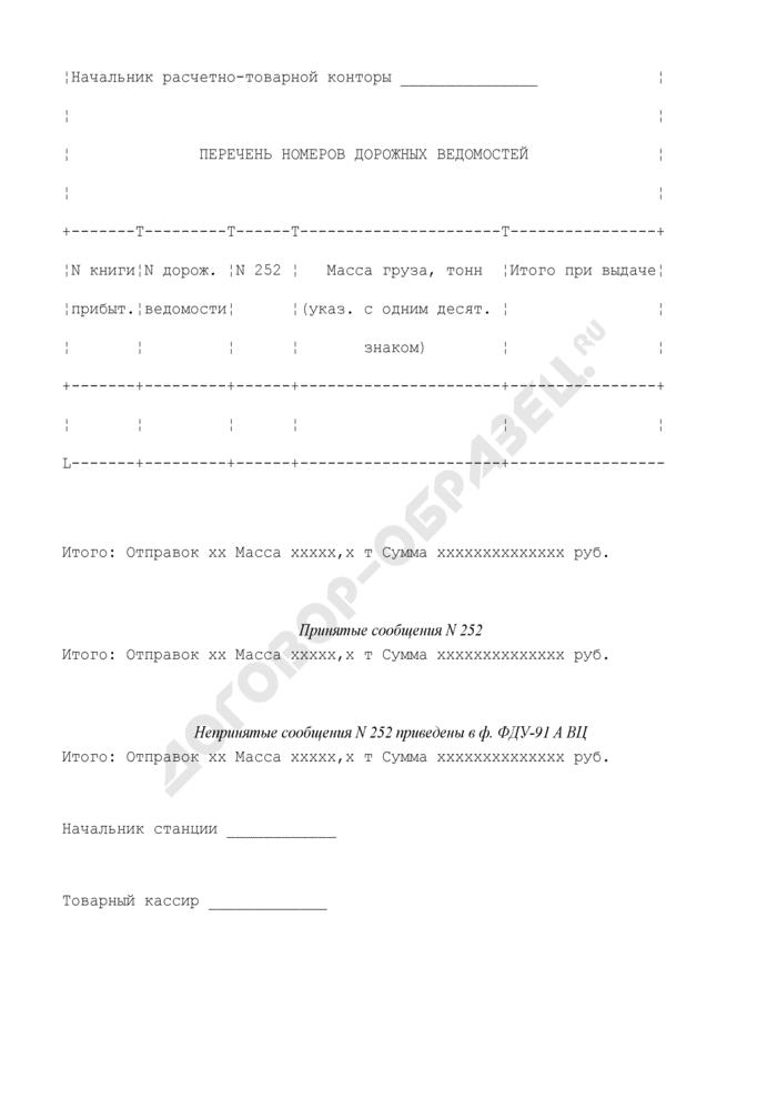 Сопроводительная ведомость дорожных ведомостей на выданные грузы. Форма N ФДУ-91 ВЦ. Страница 2