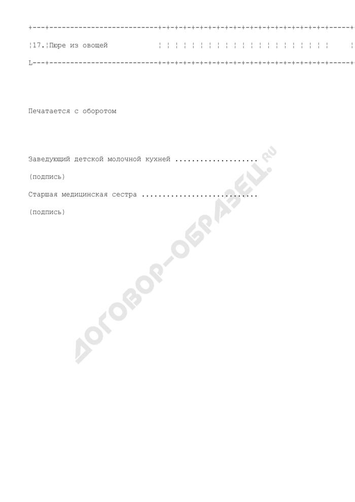 Ведомость заказов на изготовление питательных смесей. Форма N 24-МЗ. Страница 3