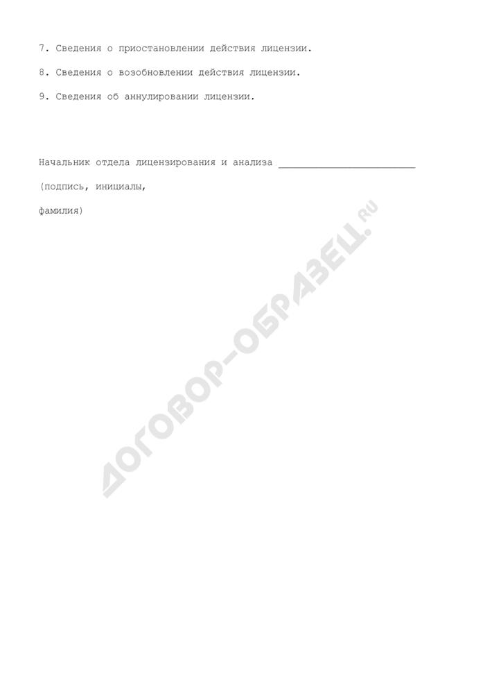 Выписка из реестра лицензий на осуществление деятельности в области железнодорожного транспорта (по перевозкам железнодорожным транспортом грузобагажа). Страница 2