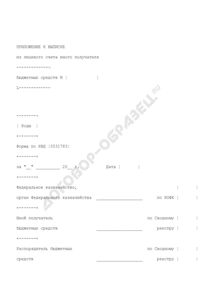 Приложение к выписке из лицевого счета иного получателя бюджетных средств. Страница 1