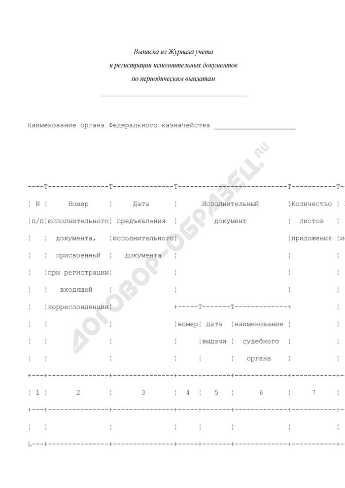 Выписка из журнала учета и регистрации исполнительных документов по периодическим выплатам органа Федерального казначейства. Страница 1